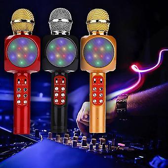Microphone karaoké lumineux Haut-parleur Bluetooth sans fil Intégré Led Lights Fm
