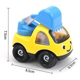 2Pcs الأصفر الفتيان والفتيات مصغرة سيارة هندسة الرسوم المتحركة القصور الذاتي سيارة، سيارة لطيف الأطفال نموذج الطائرة az7052