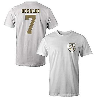 Cristiano ronaldo 7 real madrid style player kids t-shirt-medium boys (7-8yrs) white