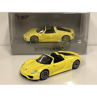 Minichamps 870062131 Porsche 918 Spyder 2015 Yellow 1:87 Scale