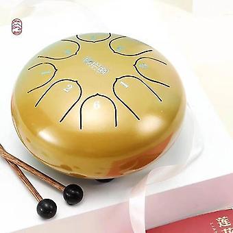 Kielirumpu 6 tuuman teräksinen kielirumpu 8-sävyinen käsipantarumpusarja, jossa on tikkuja, joissa on pussirumpu meditaatio-lyömäsoittimiin
