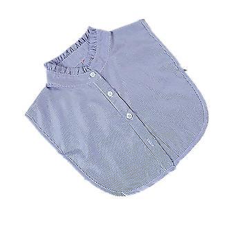 מסגרת פטרייה חצי חולצות רקמה צווארון שווא להסרה חולצה כחולה