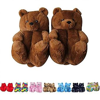 Women Plush Teddy Bear Slippers Home Indoor Soft Anti-slip Faux Fur Cute Slippers(6-9)(Dark Brown)