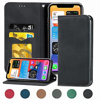 Case For Iphone Xr Magnetic Closure Leather Wallet Cover Housse Etui Shockproof - Black