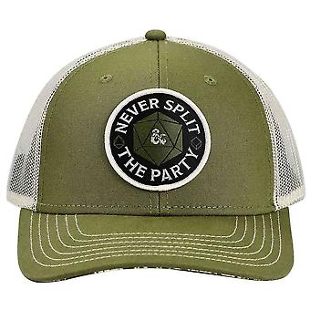 Dungeons & Dragons Never Split the Party w/ back Logo Snapback Trucker Hat