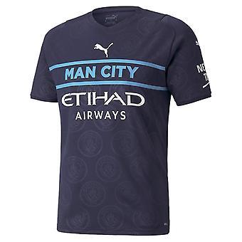 Puma Manchester City 2021/22 Mens Short Sleeve Third Football Shirt Navy Blue