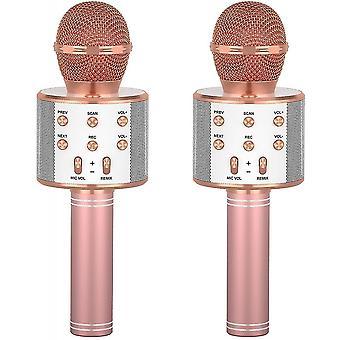 Két vezeték nélküli mikrofon gyermekek karaoke, Bluetooth kézi mikrofonok, gyermek ajándékok születésnapi partik (2 Pink)