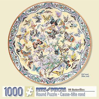 Jigsaw puzzles bits and pieces - 1000 piece round puzzle - ninety nine butterflies  flowers and butterflies - -