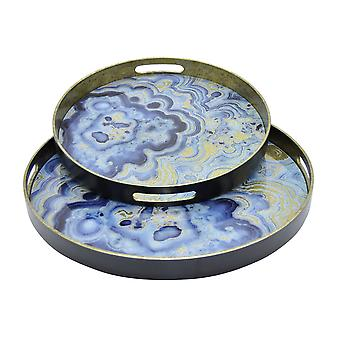 Plutus Brands Tray Set Of 2 in Blue Glass