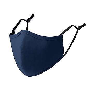 Máscara facial de algodão reutilizável de 3 camadas, um tamanho se encaixa em azul marinho reabastemável, seguro e confortável (pacote de 5)