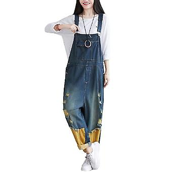 Woman Oversized Overalls Stitching Ripped Jeans