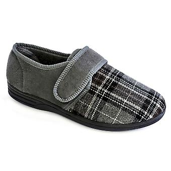 SlumberzzZ Mens Touch Closure Faux Suede Closed Slippers