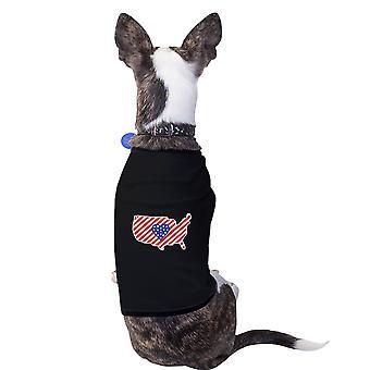 خريطة الولايات المتحدة الأمريكية العلم الأمريكي قميص الحيوانات الأليفة الصغيرة والكلاب 4th من تموز/يوليه الهدايا