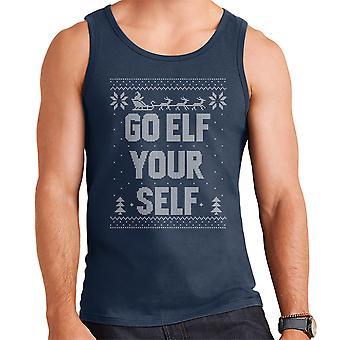 Go Elf Yourself Christmas Knit Pattern Men's Vest