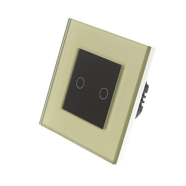 I LumoS Gold Glass Frame 2 Gang 1 Way Touch Dimmer LED Light Switch Black Insert