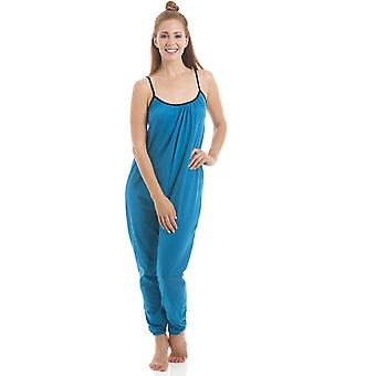 Camille Womens Sleeveless Jersey Cotton Teal Jumpsuit Onesie