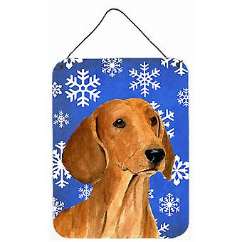 طباعة الكلب الألماني الشتاء الثلج عطلة الألومنيوم المعدنية الجدار أو الباب معلقة