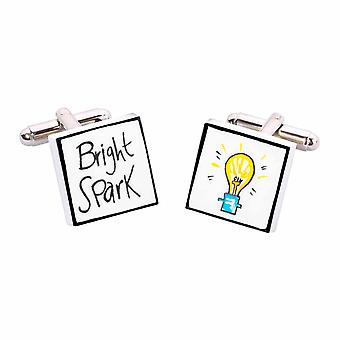 Bright Spark Cufflinks by Sonia Spencer, in Presentation Gift Box. Hand painted