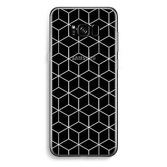 三星銀河 S8 プラス透明ケース (ソフト) - 黒と白のキューブ