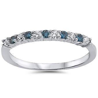 1/4ct Blue & White Diamond Anniversary Ring 14K