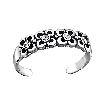 Flowers - 925 Sterling Silver Toe Rings - W27174x