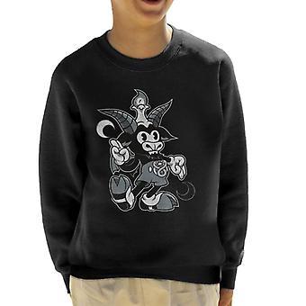 Zwart-wit Cartoon Baphomet Kid's Sweatshirt