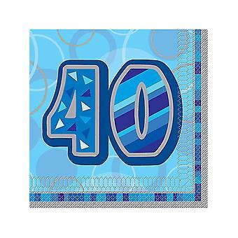 Fødselsdag Glitz blå - 40th fødselsdag - frokost servietter