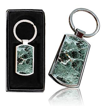 i-Tronixs - Premium Marble Design Chrome Metal Keyring with Free Gift Box (1-Pack) - 0009