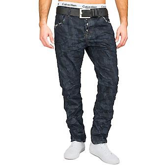 Men's Slim Fit Jeans Trousers dark blue pattern Straight Leg camouflage army