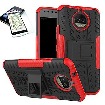 Hybrid Case 2teilig Rot für Motorola Moto G5S Plus + Hartglas Tasche Hülle Cover