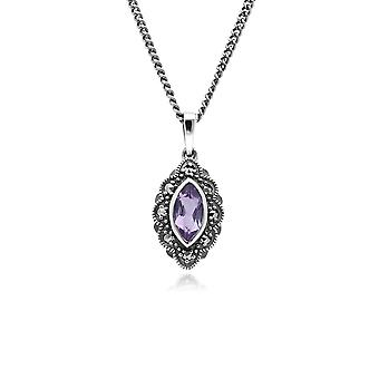 Gemondo Sterling Silver Amethyst & Marcasite Art Nouveau 45cm Necklace
