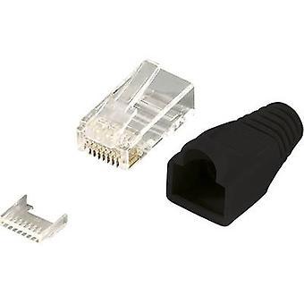 LogiLink MP0024 RJ45 Stekkerconnector CAT 6, niet afgeschermde MP0024 Stekker, recht Aantal pinnen: 8P8C Zwart 100 pc(s)
