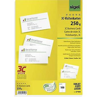 Sigel LP800 Printable business cards (smooth edge) 85 x 55 mm Bright white 100 pc(s) Paper size: A4