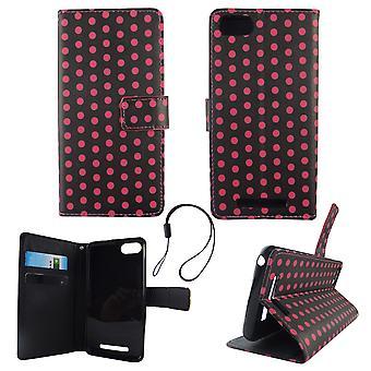 Mobile phone case pochette pour mobile WIKO Lenny 3 pois noir rose