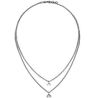 Ketting met hart hanger driehoek 2-rij RVS 3 Zirkonia 45 cm ketting