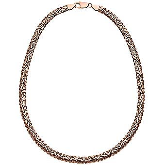 King chain oval 925 silver plated pink gold 45 cm chain necklace carabiner