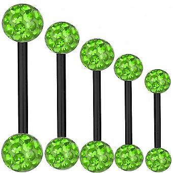 Piercing Bar zwart Titanium 1,6 mm, Multi Crystal Ball groen | 6 - 40 mm