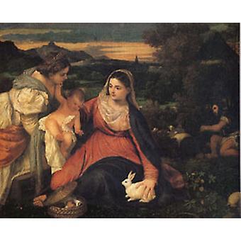 العذراء مع رابيتل ، تيتيان ، 40x50 سم