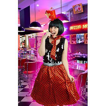 Boutique de jupon tutu jupe rétro femmes rouge à pois noirs et écharpe