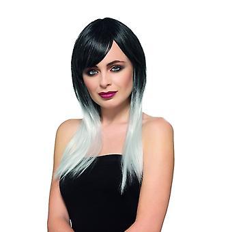 Deluxe ombre parykk damer parykk svart hvitt og Carnival Halloween tilbehør