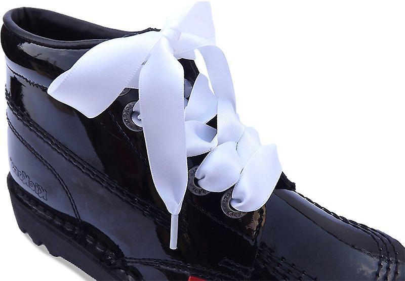 White Kicker Satin Ribbon Laces
