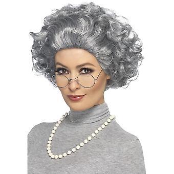 Oma-Kit, grau, mit Perücke, Brille & Perlenkette