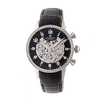 Empress Beatrice Automatic Skeleton Dial Leather-Band Watch w/Day/Date - Silver/Black