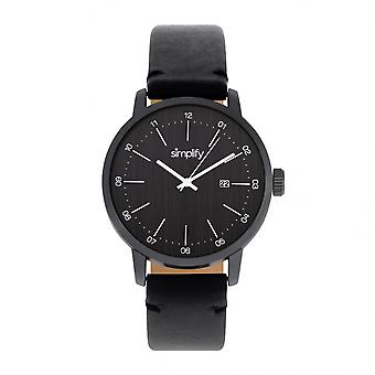 Simplify The 2500 Leather-Band Men's Watch w/ Date - Black