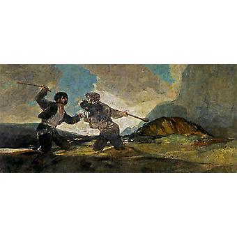 Cudgel Fight, Francisco Goya, 80x37cm