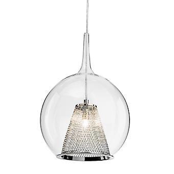 Firstlight-1 plafón ligero colgante cromo, vidrio transparente-4929CH