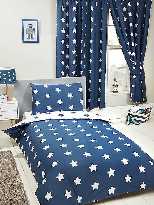 Navy Blue and White Stars 4 in 1 Junior Bedding Bundle Set