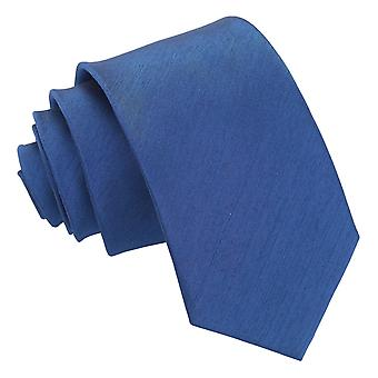 Navy Blue Plain Shantung Slim Tie