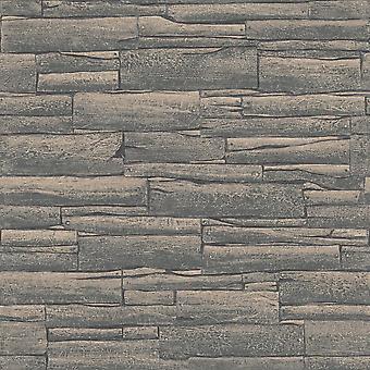 Rasch baksteen patroon behang faux effect realistische reliëf getextureerde metallic 281224
