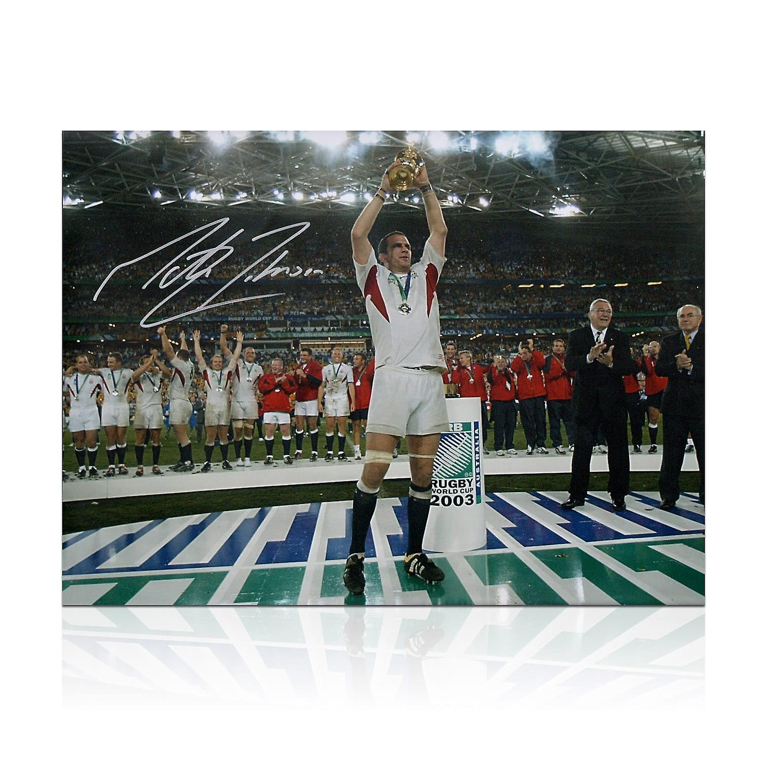Martin Johnson Signed England Rugby Photo: On The Podium In Gift Box